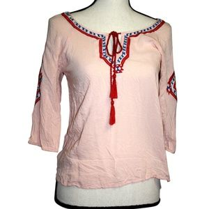 Angie Womens Size S Pink Top Blue Red 3/4 Sleeve